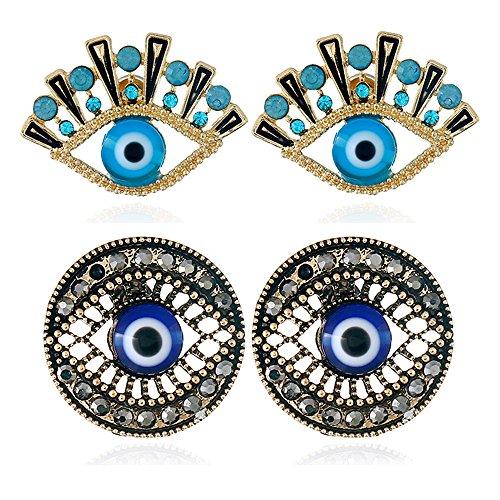 Wiwiw 2 Pack Evil Eye Stud Earrings Fashion Earrings Jewelry (2 Pack Evil Eye) ()