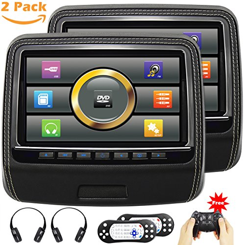 Car Dvd Headrest (Touchscreen Headrest DVD Player for Car With Leather Cover USB SD 9 inch Screen Support IR Wireless Headphones HD 1080P Black Pack of 2)