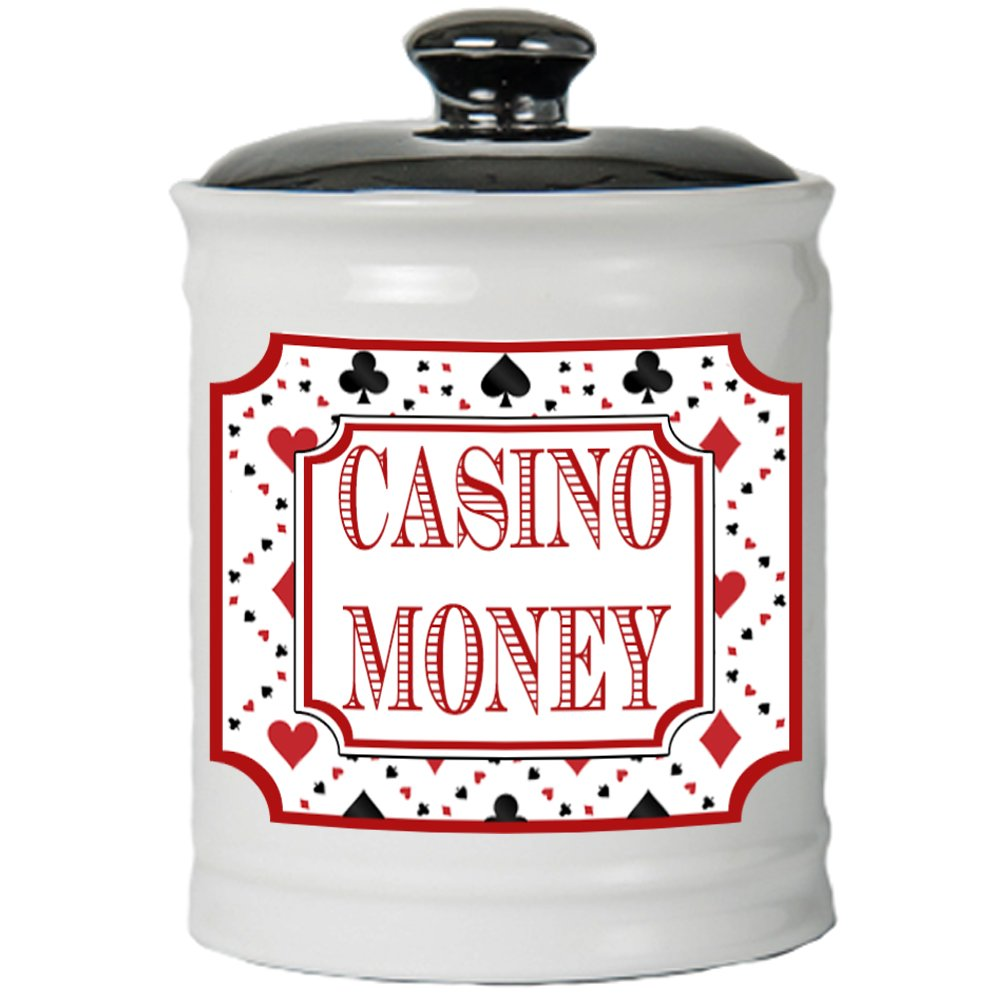 Cottage Creek Casino Gifts Casino Money Jar/Round Casino Piggy Bank/Casino Party Decoration Coin Bank [White] by Cottage Creek