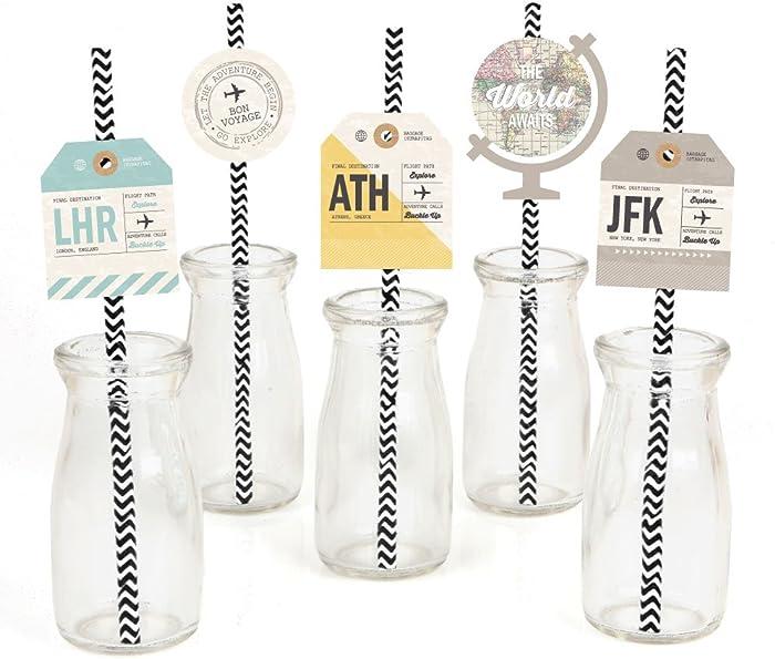 World Awaits Paper Straw Decor - Travel Themed Party Striped Decorative Straws - Set of 24