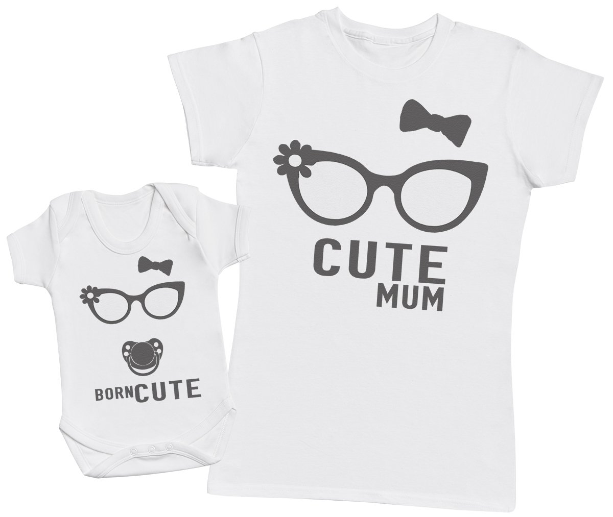 Born Cute - Matching Mother Baby Gift Set - Womens T Shirt & Baby Bodysuit
