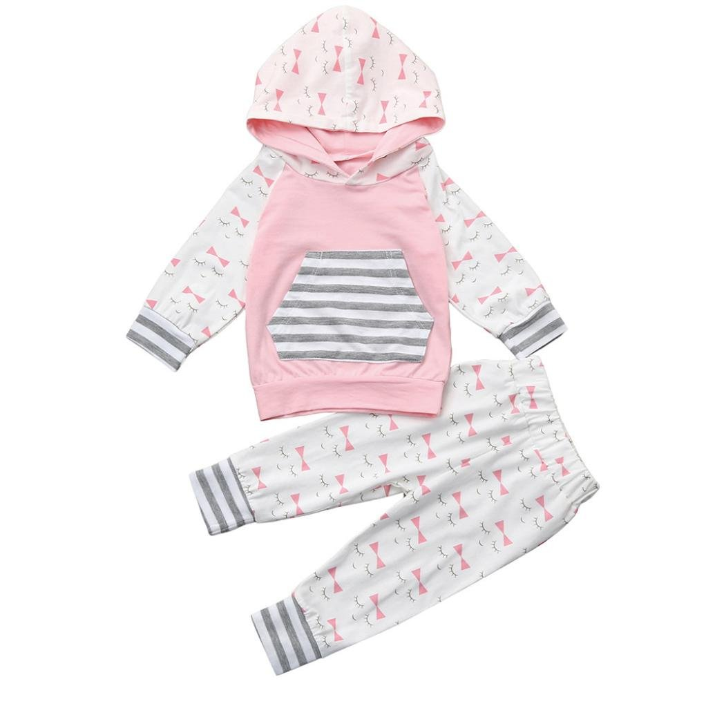 Lavany 2pcs Toddler Baby Girls Clothes Set Eyelash Hoodie Tops+Pants Suit Outfits