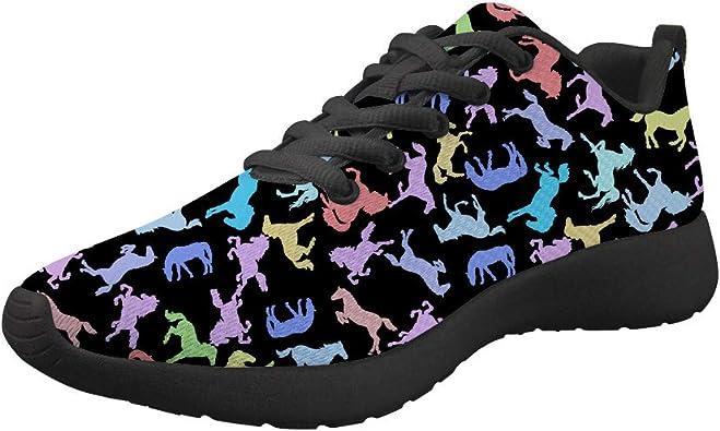Dellukee - Zapatillas de Running para Hombre, Ligeras, Coloridas, de Lona, Deportivas, Anchas, Negro (Caballo), 39.5 EU: Amazon.es: Zapatos y complementos
