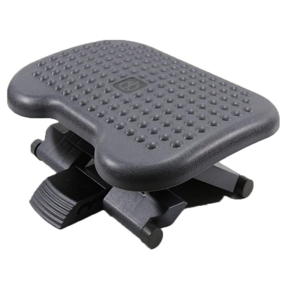 QTKK Ergonomic footrest Adjustable Angle and Height Office Foot Rest Stool for Under Desk Support-Black 36x47cm(14x19inch)