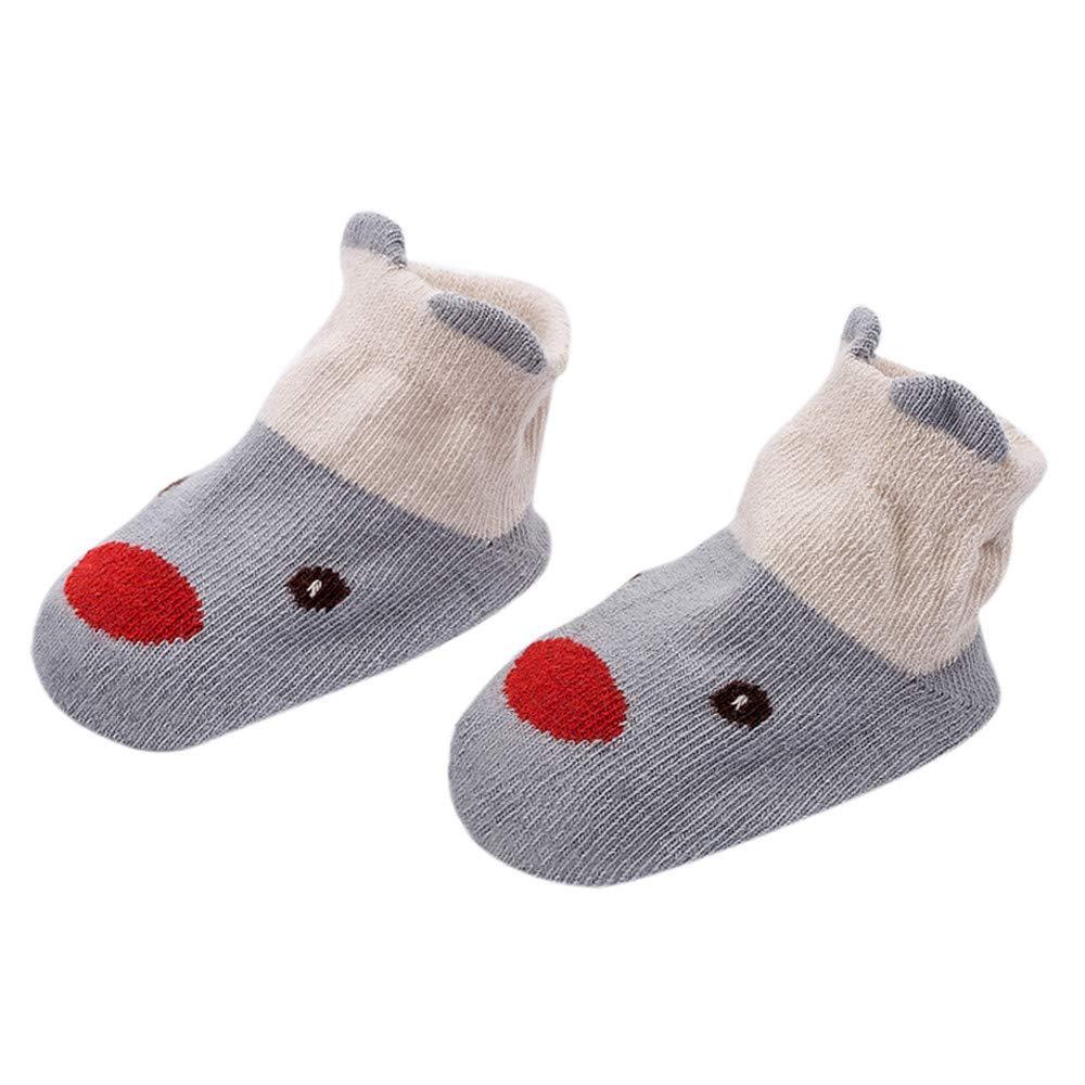 FEITONG Kids Infant Toddler Baby Boys Girls Cartoon Animals Anti-Slip Knitted Warm Socks(2-4T,Gray)