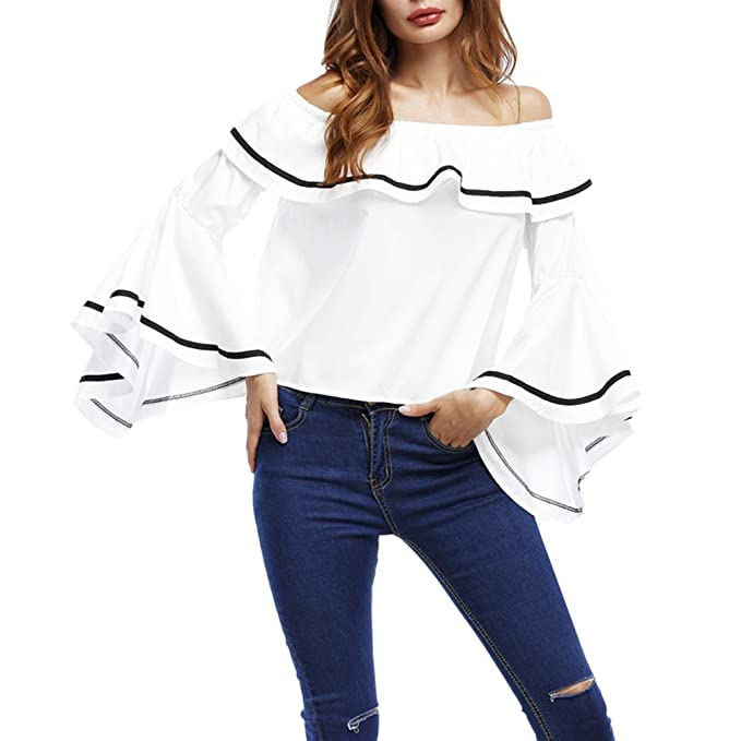 Mujer Camiseta Mangas Largas Volantes Fuera del hombro Blusa Elegante Casual Oficina Blusa Blanco L