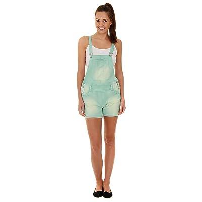 Millenium Femme - Salopette Short - Vert en jean denim shorts pour femme WOMSH04