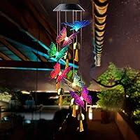 Solar Light Wind Chimes, Crystal Ball/Butterfly Solar Light, Solar Wind Chime Color Changing Outdoor Solar Garden…