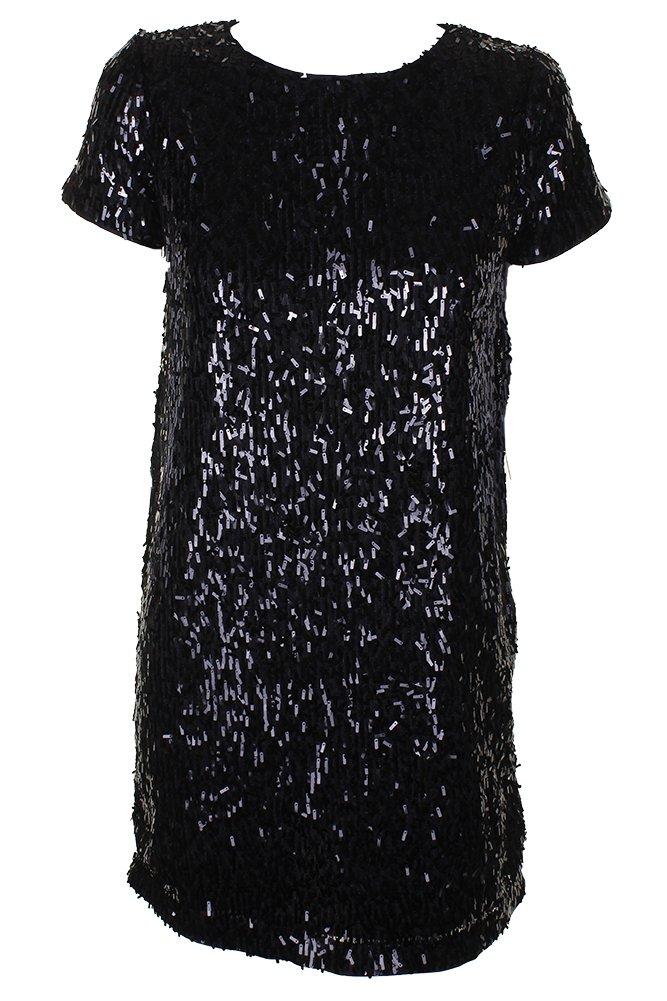 Deep Black Bar Iii Womens Embellished ALine Shift Dress