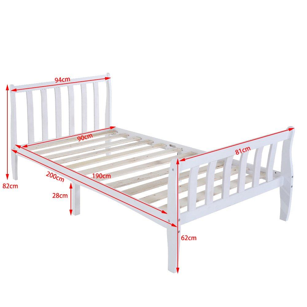 Keinode Single Bett 3 Ft Single Schlitten Rahmen aus Massivem Holz ...