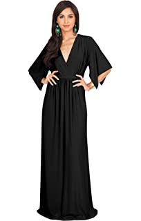 cc678bace4f KOH KOH Womens Long V-Neck Summer Sexy Gown Grecian Flowy Sleeveless ...