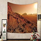 Gzhihine Custom tapestry Galaxy Tapestry Landscape from the Movie Fantastic Fictional Galaxy War Themed Pattern Sunset Mountains Bedroom Living Room Dorm Decor Brown Yellow