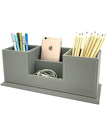 Rose Gold Metal Pen Holder Box Case Desk Stationery Office School Desk Supplies Traveling Desk Accessories & Organizer