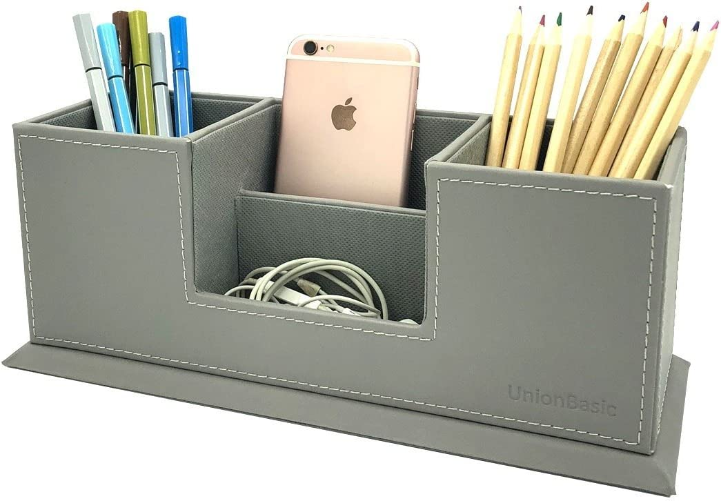 UnionBasic PU Leather 4 Compartment Desk Organizer Card/Pen/Pencil/Mobile Phone Office Supplies Holder Collection Desktop Organizer (Grey)