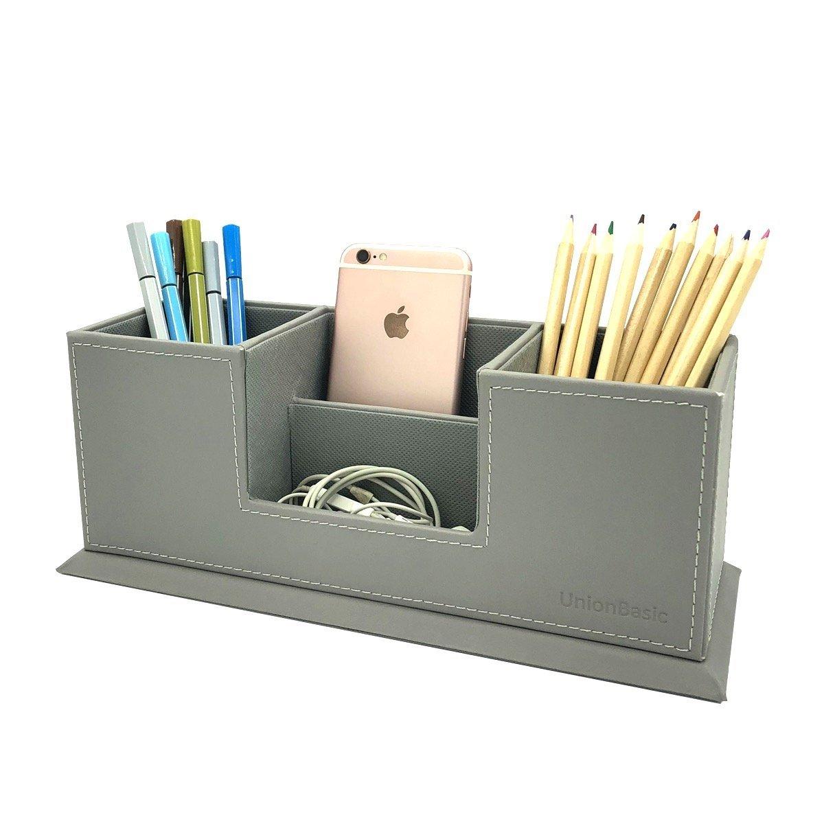 UnionBasic PU Leather 4 Compartment Desk Organizer Card/Pen/Pencil/Mobile Phone Office Supplies Holder Collection Desktop Organizer (Grey)