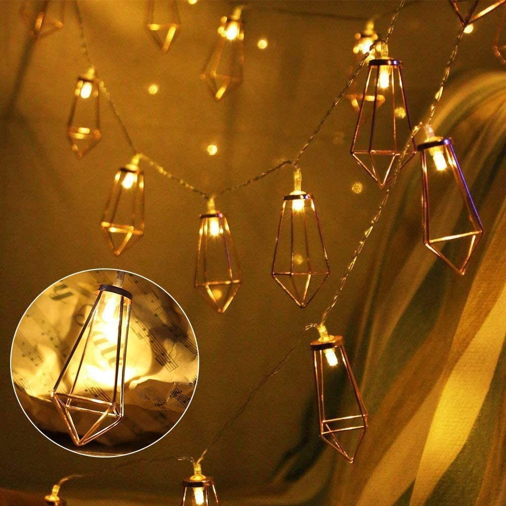 Luces de Cadena LED Geométricas, Oro Rosa Diamante Luz de Navidad, Cadena de luz LED, Portable Luz secuencia de hadas luces for jardín, hogar, ...