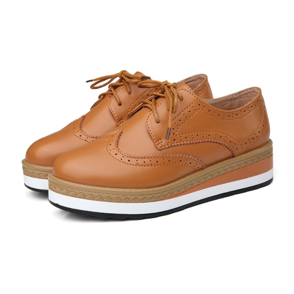 Women's Platform Oxfords Shoes Lace up Flat Carving Comfort Casual Sneaker
