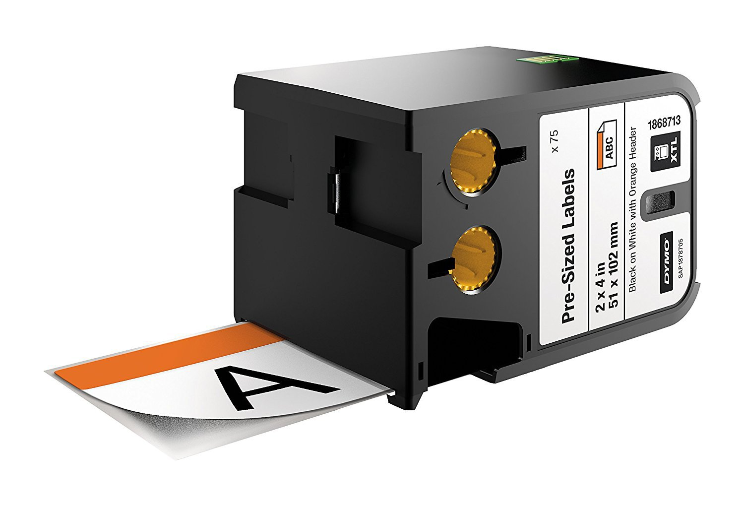 DYMO Industrial Pre-sized Safety Labels for DYMO XTL Label Makers, Black on White with Orange Header, 2''x4'', 1 Roll (1868713)