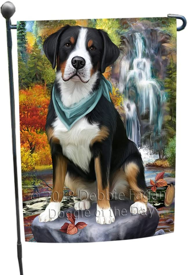 Doggie of the Day Scenic Waterfall Greater Swiss Mountain Dog Garden Flag GFLG51898