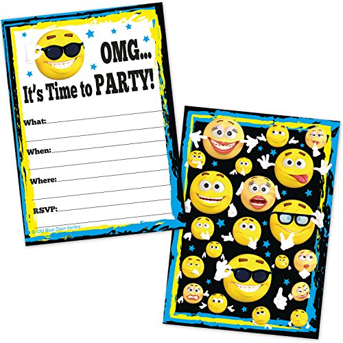Funny Birthday Party Invites (Emojicon Party Invitations - Birthday, Graduation, Teen Party (20 Count with)