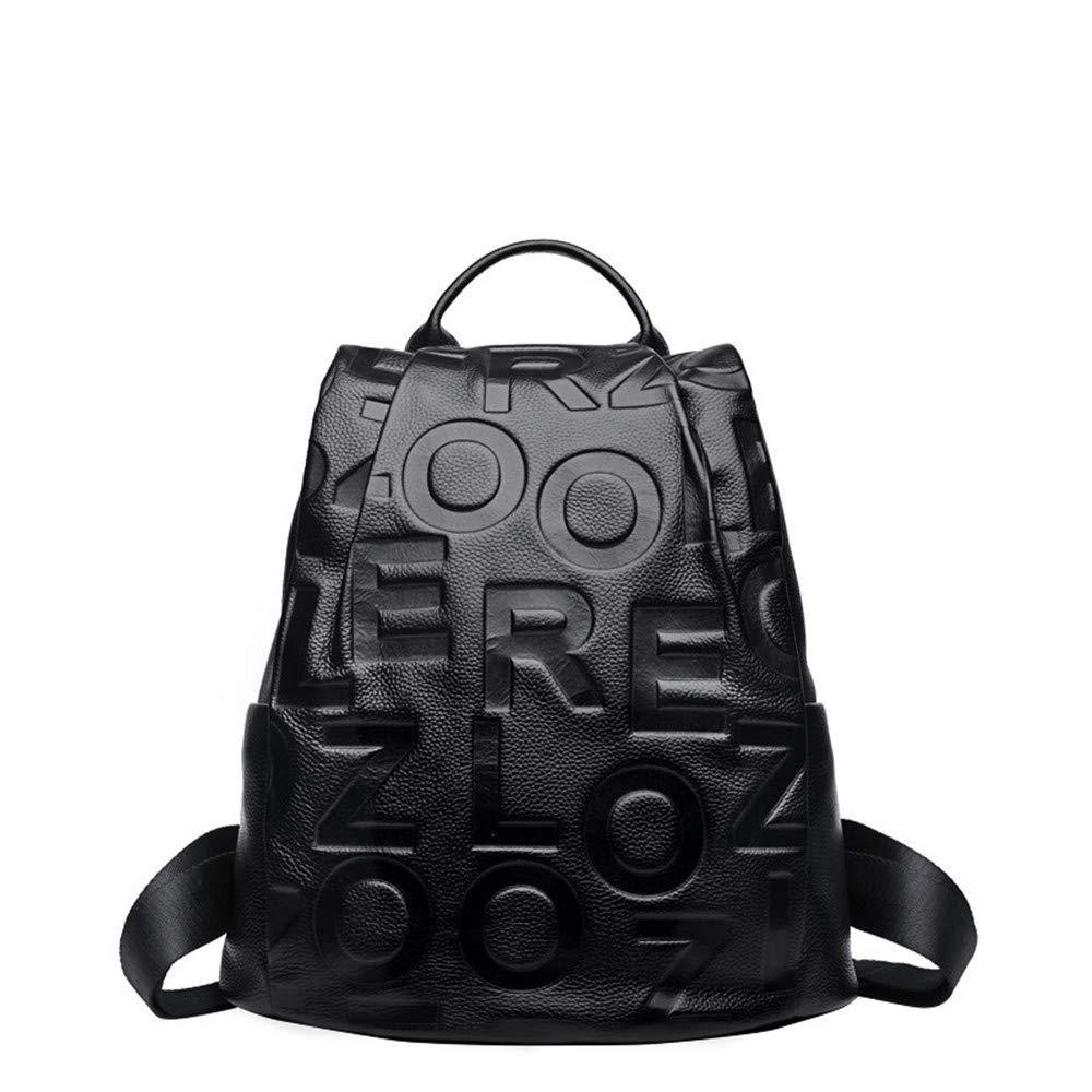 多目的デイパック バックパック レディース レザー ファッション 盗難防止 大容量 バックパック 学生バッグ シンプル ソフトレザー 旅行バックパック B07L79MBR1 ブラック
