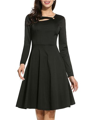 ANGVNS Women Vintage Long Sleeve Elegant Fit and Flare Formal Dress