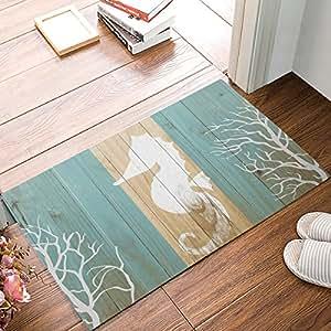 Antideslizante Felpudo interior y exterior alfombrilla de puerta entrada alfombra alfombra de baño ropa de cama alfombra Hippocampus color madera impresión por Sun-Shine