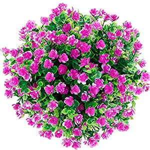 CQURE Artificial Flowers, Fake Flowers Artificial Greenery UV Resistant Plants Eucalyptus Outdoor Bridal Wedding Bouquet for Home Garden Party Wedding Decoration 5 Bunches (Purple Red) 1