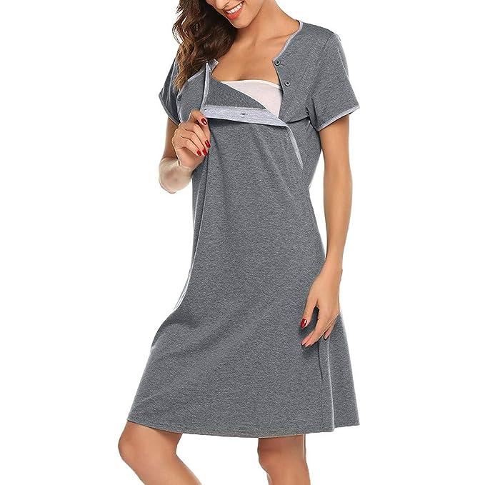 41577f205dd5 Amazon.com  Matoen Maternity Pregnant Women Short Sleeve Nursing Baby Care  Pajamas Breastfeeding Nightdress Pregnancy Dress Green  Clothing