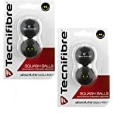Tecnifibre Double Yellow Dot - Pelotas de squash (4 unidades)