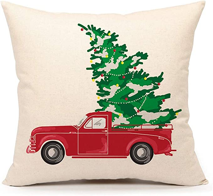 Amazon Com 4th Emotion Red Truck With Christmas Tree Vintage Home Decorations Throw Pillow Case Cushion Cover 18 X 18 Inch Cotton Linen Home Kitchen