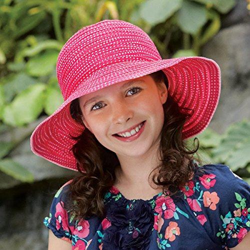 Wallaroo Women's Petite Scrunchie Sun Hat - UPF 50+ - Crushable, Fuchsia/White Dots