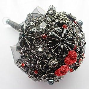Amazon.com: Black, red, bridal brooch bouquet, wedding bouquet ...