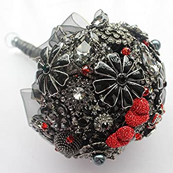 Amazon.com: Black, red, bridal brooch bouquet, wedding bouquet ...