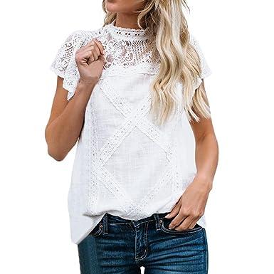 b1fc4c7740ca23 YEBIRAL Damen T-Shirt Sommer Freizeit Weiß Spitze Patchwork Kurzarm  Rundkragen Baumwolle Einfarbig Bluse Tops