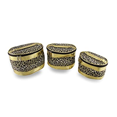 Nylon Womens Cosmetic Bags Set Of 3 Leopard Print Cosmetic Bags W/Metallic Gold Trim Gold low-cost