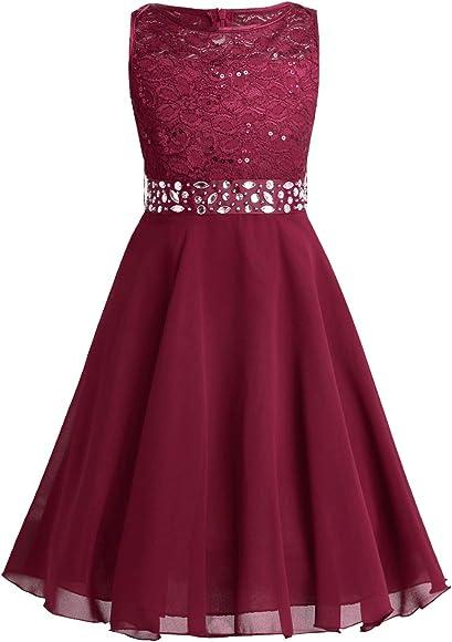 YiZYiF Girls Sequins Lace Floral Wedding Dress