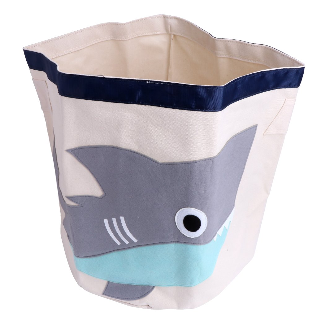 Yumian Large Kids Cartoon Animal Sundries Clothes Basket Bags Storage Pouch Barrel Bag (Shark)