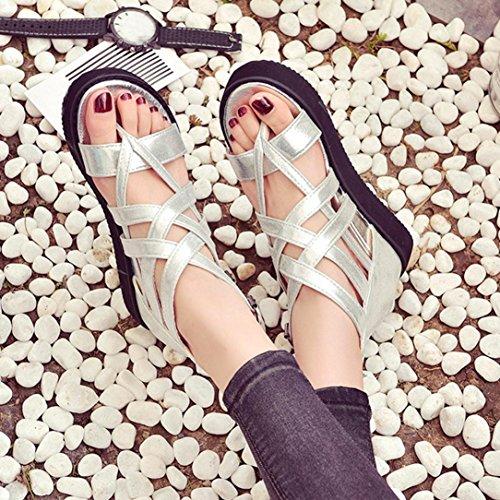bescita Neue Fashion Damen Sommer Sandalen Schuhe Peep-Toe Halbschuhe Römischen Sandalen Damen Flip Flops (35, Silber)