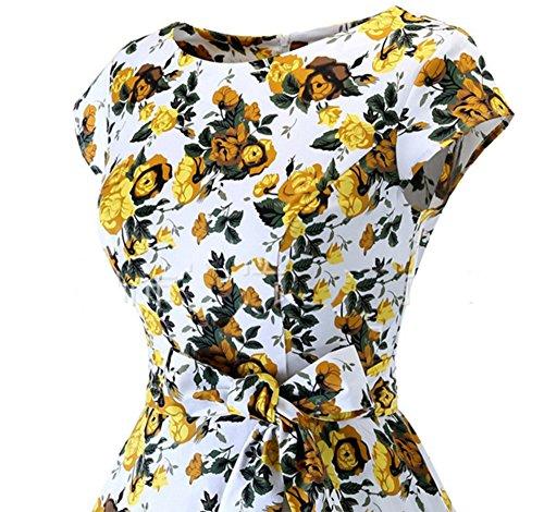 50 Polka des Robe 1 des annes Dots de femmes plisse vintage robe lgant ceinture pois AZwwq7txn
