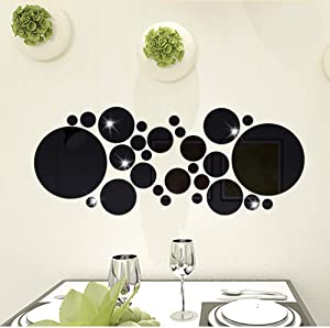 HUWEGON 30pcs DIY Mirror Wall Sticker, Removable Round Acrylic Mirror Decor of Self Adhesive Circle for Art Window Wall Decal Kitchen Home Decoration (Black)