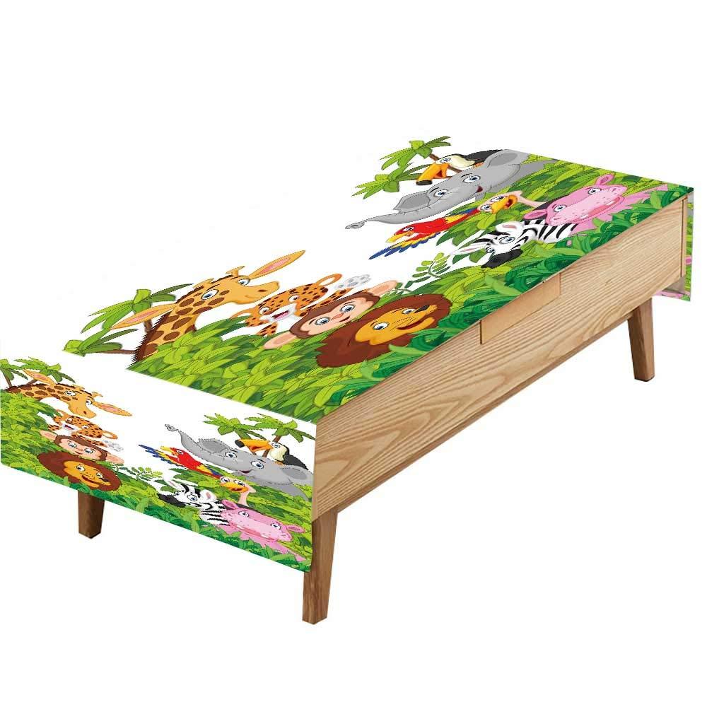 PINAFORE ポリエステル100%テーブルクロス シーレ avec licornes arc en ciel affiche ou コピーディナーテーブル ベビー 誕生日パーティー 幅50×長さ80インチ W50