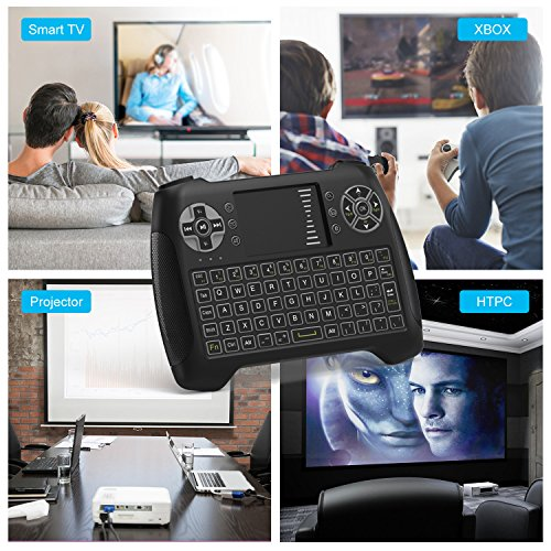 Mini Wireless Keyboard With Touchpad, Vive Comb 2.4G Rechargeable Backlit Handheld Remote Control Keyboard and Mouse Combo with Multimedia Keys for Android TV Box, PC, PAD, Smart TV, X-BOX, HTPC by vive comb (Image #8)