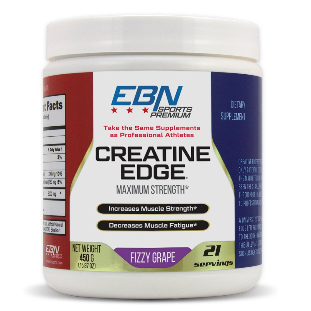 Creatine Edge- Patented Effervescent Formula – Up to 195% More Effective vs Creatine Monohydrate - High 99% Absorption Rate - Increase Muscle Mass, Strength, Recovery - Grape Flavor- 21 Serv