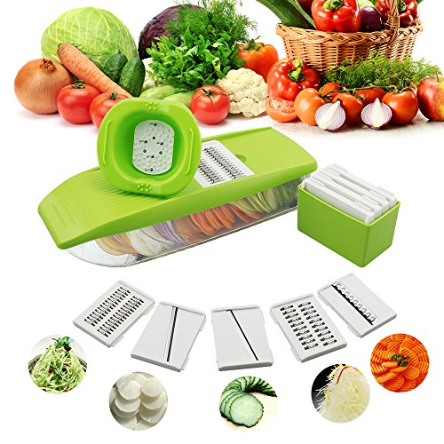 Mandoline Vegetable Slicer Adjustable with 5 Thickness Settings Interchangeable Stainless Steel Blades Vegetable Chopper Cutter for Cucumber, Carrot, Onion