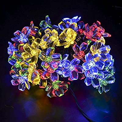 JZHY 50led 23ft Solar String Lights Blossom Flower Led Light for Christmas,Garden,trees, Indoor and Outdoor Decoration