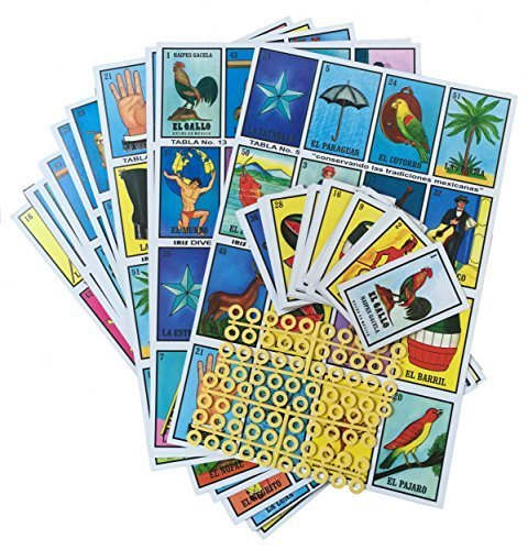 Loteria Mexicana Family Board Game - Set of 20 Jumbo Boards and Deck of 54 Cards (Loteria Mexican Bingo)