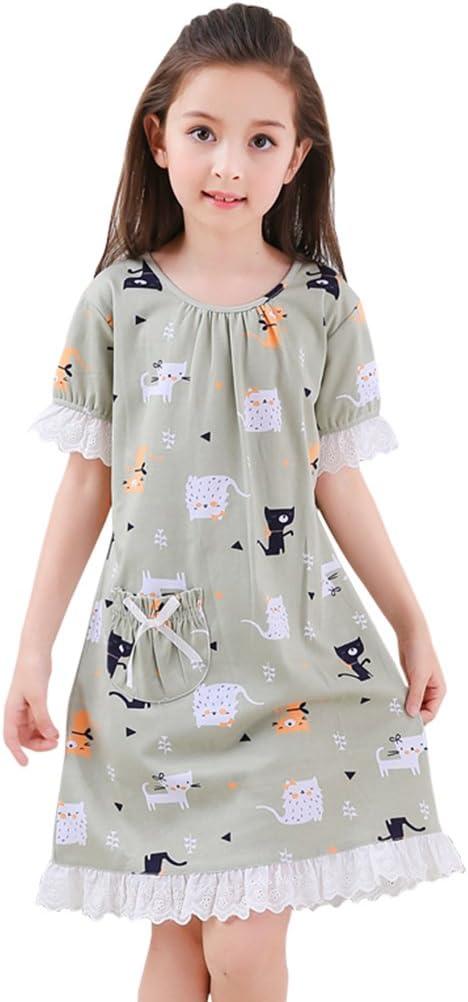 Vestidos para Dormir para niños Pijamas de algodón de Verano para niñas Pijama Fino de Manga Corta para niñas Vestidos de Princesa Ropa de casa para Madre e Hija (Size : 110cm):