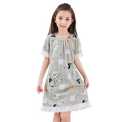 Vestidos para dormir para niños Pijamas de algodón de verano para niñas Pijama fino de manga