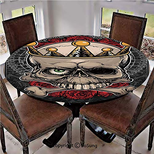 Elastic Edged Polyester Fitted Table Cover,Skull with Crown Roses Bones Dead King Halloween Illustration,Fits up to 36